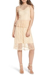 Lost Ink Lace Fit And Flare Dress Nude