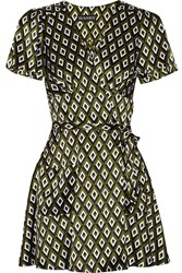 Haney The Lucy Printed Silk Satin Wrap Mini Dress Green