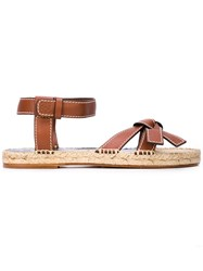 Loewe Knotted Strap Espadrille Sandals Brown