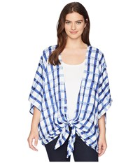 Collection Xiix Watercolor Gingham Kimono Dark Chambray Clothing Blue
