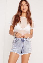 Missguided High Waisted Denim Shorts Blue Blue