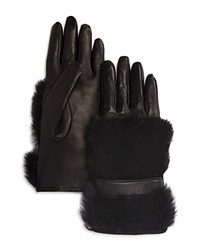 Bloomingdale's Rabbit Fur Gloves Black