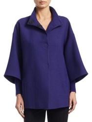 Akris Punto Three Quarter Sleeve Wool Coat Purple