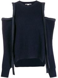Stella Mccartney Havana Cold Shoulder Jumper Blue