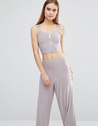 Ax Paris Cropped Top With Zip And Buckle Detail Silver