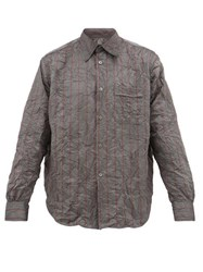 Our Legacy Policy Striped Crushed Shell Shirt Grey
