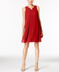 Msk Rhinestone Chiffon Flyaway Dress Red