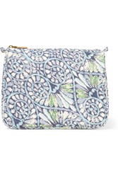 Aerin Mediterranean Honeysuckle Large Printed Cotton Canvas Cosmetics Case Royal Blue