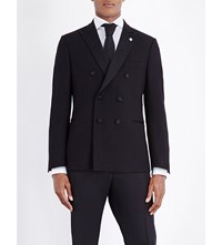 Lardini Double Breasted Wool Jacket Black