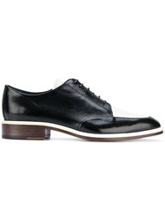 Lanvin Two Tone Derby Shoes Lamb Skin Leather Black