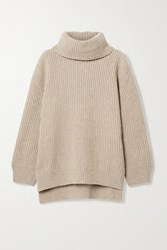 Anine Bing Olivia Ribbed Cashmere And Wool Blend Sweater Beige