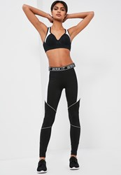 Missguided Active Black Contrast Piping Full Length Leggings