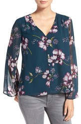 Cupcakes And Cashmere Women's 'Tibet' Floral Print Chiffon Blouse