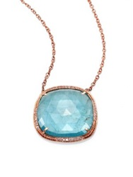 Jacquie Aiche Aquamarine Diamond And 14K Rose Gold Freeform Pendant Necklace