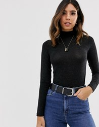 Y.A.S Wool Mix Roll Neck Fitted Top Black