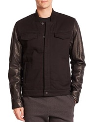 Alexander Wang Leather Sleeves Cotton Canvas Twill Jacket Black