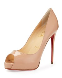Christian Louboutin New Very Prive Patent Red Sole Pump Nude Neutral