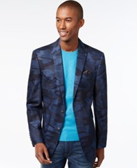 Tallia Big And Tall Denim Camo Blazer Navy