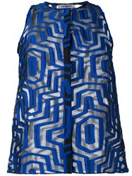 Cacharel Sheer Geometric Pattern Shirt Blue