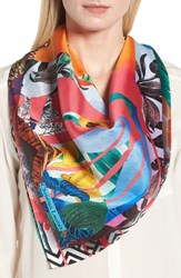 Christian Lacroix Bayou Fantasy Silk Square Scarf Coral Red