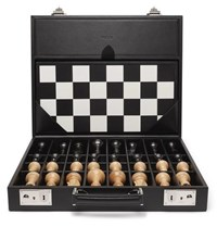 Asprey Hanover Leather Chess Case Black