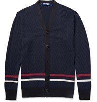 Junya Watanabe Striped Wool And Silk Blend Cardigan Midnight Blue
