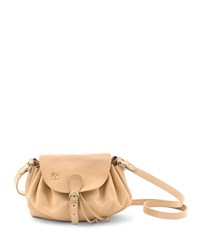 Il Bisonte Ruched Drawstring Leather Crossbody Bag Beige