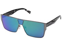 Marc Jacobs 213 S Matte Ruthenium Gray With Mirror Green Lens Fashion Sunglasses Blue