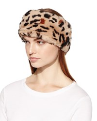 Surell Rex Rabbit Fur Headband Animal Print