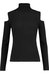 N.Peal Cashmere Cutout Cashmere Turtleneck Sweater Black