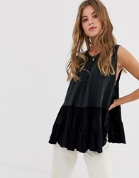 Free People Right On Time Pleated Vest Top Black