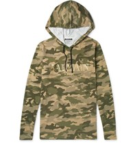 Balmain Camouflage Print Cotton Jersey Hoodie Army Green