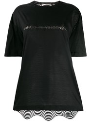 Marco De Vincenzo Crystal Embellished Logo T Shirt Black