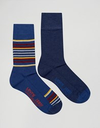 Levi's Socks In 2 Pack Blanket Stripe Blue Blue