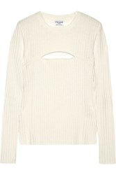 Frame Cutout Ribbed Merino Wool Blend Sweater Off White