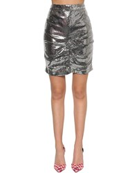 Msgm P.M. Sequined Mini Skirt Silver