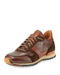 Magnanni Leather And Suede Sneaker Brown