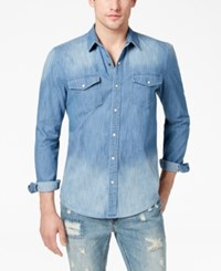 American Rag Men's Denim Western Shirt Created For Macy's Light Wash