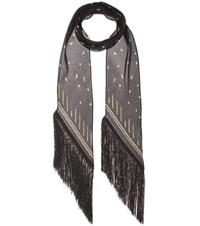 Rockins Fireflies Printed Silk Scarf Black