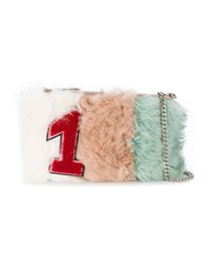 Miu Miu Number One Emblem Clutch Leather Lamb Fur Metal Other