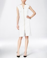 Inc International Concepts Textured Zip Front A Line Dress Only At Macy's White