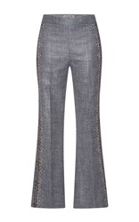 Giambattista Valli Knitted Detailing Flared Pants Dark Grey