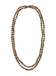 Tateossian Mesh Beaded Necklace Brown