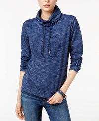 Tommy Hilfiger Mock Neck Space Dyed Sweatshirt Only At Macy's Blue Combo