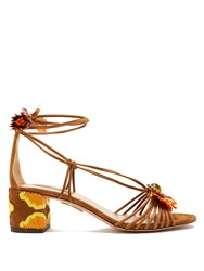 Aquazzura Samba Raffia Embellished Suede Block Heel Sandals Tan Multi