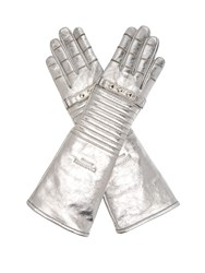 Calvin Klein 205W39nyc Padded Leather Gloves Silver