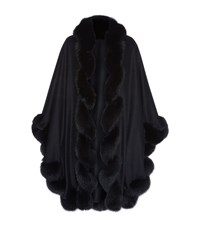 Harrods Of London Spiral Fox Fur Trimmed Cape Female