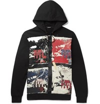 Balmain Printed Loopback Cotton Jersey Hoodie Black