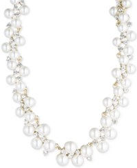 Anne Klein Gold Tone Imitation Pearl And Crystal Cluster Collar Necklace