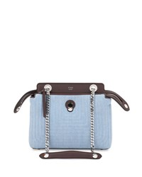 Fendi Dot Com Mini Denim Satchel Bag Blue